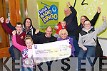 Patsy Griffin, Spa Road and Family celebrate their win in the radio Kerry Rehab Bingo  Jackpot when breakfast show's  Brian Percell  presented her with a cheque for €10,000 at  the Studio on Wednesday. Pictured Shannon Enright, Brian Percell, Patsy Griffin, Maura Griffin, Robbie Enright, Darragh Flynn, Marion Griffin, Ryan Healy, Paul Griffin