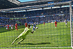12.05.2019, Schauinsland-Reisen-Arena, Duisburg, GER, DFL, 2. BL, MSV Duisburg vs 1. FC Heidenheim, DFL regulations prohibit any use of photographs as image sequences and/or quasi-video<br /> <br /> im Bild Kevin Müller / Mueller (#1, 1.FC Heidenheim 1846) pariert Elfmeter von Kevin Wolze (#17, MSV Duisburg) <br /> <br /> Foto © nordphoto/Mauelshagen