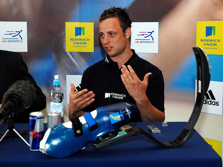 Photo: Richard Lane..Norwich Union Press Conference with Oscar Pistorius ahead of his first Grand Prix race with able bodied athletes at the Norwich Union British Grand Prix in Sheffield on 15th July. 10/07/2007.