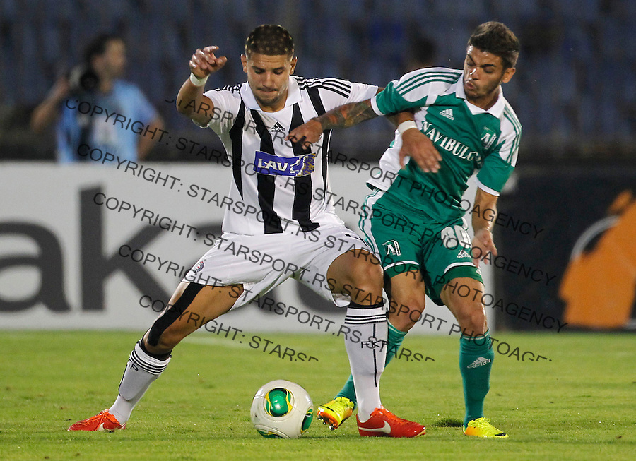 Fudbal UEFA Champions League season 2012-2013<br /> Third qualifying round, Second leg<br /> Partizan v Ludogorec<br /> Aleksandar Mitrovic and J&uacute;nior Cai&ccedil;ara right<br /> Beograd, 06.08.2013.<br /> foto: Srdjan Stevanovic/Starsportphoto &copy;