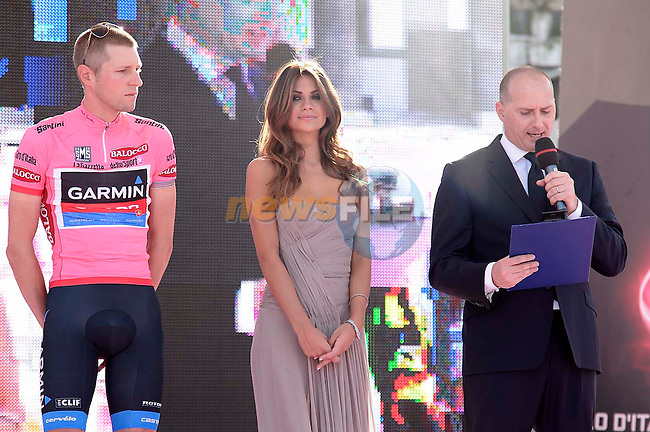 First public appearance of Alessia Ventura, Miss Giro d'Italia 2013 alongside defending champion Ryder Hesjedal (CAN) Garmin Sharp and Michele Acquarone Race Director at the Team Presentation in Naples, Italy..3rd May 2013. .(Photo: Fabio Ferrari - LaPresse/www.newsfile.ie)...