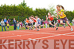 the under 10 girls 60m final at the Gneeveguilla AC open athletics meet in Castleisland on Sunday..