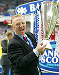 Big Eck roars with delight as he picks up the SPL trophy