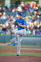 Iowa Cubs  starting pitcher Seth Frankoff (20) delivers a pitch to the plate against the Salt Lake Bees  in Pacific Coast League action at Smith's Ballpark on May 13, 2017 in Salt Lake City, Utah. Salt Lake defeated Iowa  5-4. (Stephen Smith/Four Seam Images)