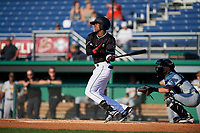 Batavia Muckdogs Dalvy Rosario (17) bats during a NY-Penn League game against the West Virginia Black Bears on June 26, 2019 at Dwyer Stadium in Batavia, New York.  Batavia defeated West Virginia 4-2.  (Mike Janes/Four Seam Images)