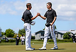Daniel Hillier (L) wins the New Zealand Amateur Golf Championship final against Tom Parker at Russley Golf Course, Christchurch, New Zealand. Sunday 5 November 2017. Photo: Simon Watts/www.bwmedia.co.nz