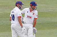 Nick Browne (left) and Sir Alastair Cook (right) of Essex chat between overs during Essex CCC vs Kent CCC, Bob Willis Trophy Cricket at The Cloudfm County Ground on 4th August 2020