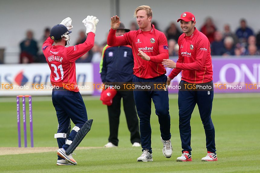 Simon Harmer of Essex (C) celebrates taking the wicket of Michael Klinger during Essex Eagles vs Gloucestershire, Royal London One-Day Cup Cricket at The Cloudfm County Ground on 4th May 2017