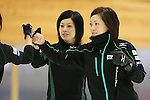 (L to R) Yumie Funayama, Ayumi Ogasawara (Fortius), SEPTEMBER 16, 2013 - Curling : Olympic qualifying Japan Curling Championships Women's Final second Mach between Chuden 7-6 Fortius at Dogin Curling Studium, Sapporo, Hokkaido, Japan. (Photo by Yusuke Nakanishi/AFLO SPORT)
