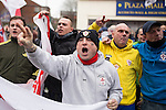 © Joel Goodman - 07973 332324 .  07/02/2015 . Dudley , UK . Approximately 500 EDL supporters at an English Defence League demonstration in Dudley , in the West Midlands , this afternoon ( Saturday 7th February 2015 ). They oppose the building of a new mosque in Dudley . Photo credit : Joel Goodman