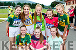 Caoimhe Guerin, Aine Leader, Muireann Hughes. Back row: Katelyn O'Leary, Tara O'Leary, Roisin Brosnan, Norma Leader and Orla Cremin at the 4km road race in aid of the Rathmore Ladies football club on Sunday