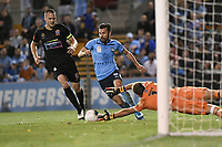 1st November 2019; Leichhardt Oval, Sydney, New South Wales, Australia; A League Football, Sydney Football Club versus Newcastle Jets; Kosta Barbarouses of Sydney goes around Glen Moss of Newcastle Jets before scoring to make it 4-1 - Editorial Use