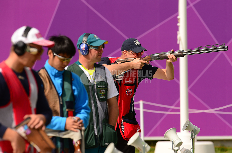 Aug 2, 2012; Greenwich, United Kingdom; Walton Eller (USA) shoots during the men's double trap competition at the London 2012 Olympic Games at Royal Artillery Barracks. Mandatory Credit: Mark J. Rebilas-USA TODAY Sports