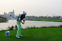 Marcel Siem (GER) tees off the 18th tee during Sunday's Final Round of the 2014 BMW Masters held at Lake Malaren, Shanghai, China. 2nd November 2014.<br /> Picture: Eoin Clarke www.golffile.ie