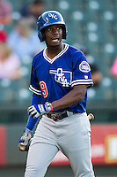 Oklahoma City Dodgers outfielder Darnell Sweeney (9) during the Pacific Coast League baseball game against the Round Rock Express on June 9, 2015 at the Dell Diamond in Round Rock, Texas. The Dodgers defeated the Express 6-3. (Andrew Woolley/Four Seam Images)