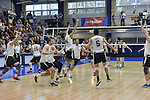 27 APR 2014: Springfield College celebrates match point against Juniata College during the Division III Men's Volleyball Championship held at the Kennedy Sports Center in Huntingdon, PA. Springfield defeated Juniata 3-0 to win the national title.  Mark Selders/NCAA Photos