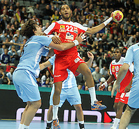 18.01.2013 Barcelona, Spain. IHF men's world championship, prelimanary round. Picture show Oussama Hosni   in action during game between Arnetina vs Tunisia at Palau St Jordi