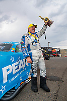 Jul 22, 2018; Morrison, CO, USA; NHRA funny car driver John Force celebrates after winning the Mile High Nationals at Bandimere Speedway. Mandatory Credit: Mark J. Rebilas-USA TODAY Sports