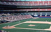 Ballparks: San Diego--Jack Murphy Stadium. Game on 9/29/92. The smallest crowd of the year. The stadium is 20 years old.