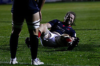 Alex Toolis of London Scottish is down injured during the Championship Cup match between London Scottish Football Club and Yorkshire Carnegie at Richmond Athletic Ground, Richmond, United Kingdom on 4 October 2019. Photo by Carlton Myrie / PRiME Media Images