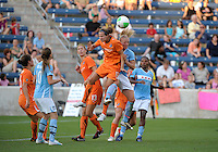 Sky Blue FC defender Keeley Dowling (17) heads away a corner kick in front of Chicago Red Star midfielder Katie Chapman (17).  The  Chicago Red Stars defeated the Sky Blue FC 2-0 at Toyota Park in Bridgeview, IL on July 10, 2010.