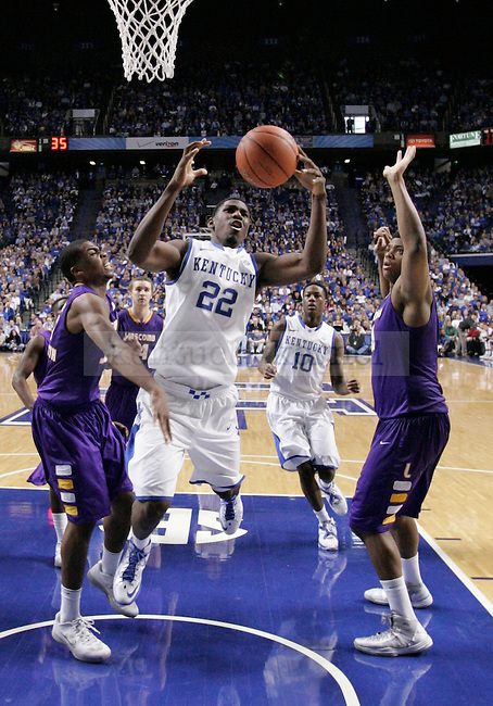 UK forward Alex Poythress jumps to grab a rebound ball during the UK men's basketball vs. Lipscomb University at Rupp Arena in Lexington, Ky., on Saturday, December 15, 2012. Photo by Tessa Lighty | Staff