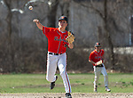 WATERBURY,  CT-041319JS17- Watertown's Cameron Guerrera (5) throws to first for the out during their game with Sacred Heart Saturday at Waterville Park in Waterbury. <br /> Jim Shannon Republican American