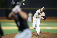 Wake Forest Demon Deacons relief pitcher Griffin Roberts (43) delivers a pitch to the plate against the Davidson Wildcats at David F. Couch Ballpark on February 28, 2017 in Winston-Salem, North Carolina.  The Demon Deacons defeated the Wildcats 13-5.  (Brian Westerholt/Four Seam Images)