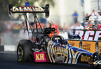 Feb. 9, 2012; Pomona, CA, USA; NHRA top fuel dragster driver Khalid Albalooshi during qualifying at the Winternationals at Auto Club Raceway at Pomona. Mandatory Credit: Mark J. Rebilas-