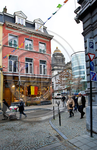 "BRUSSELS - BELGIUM - 06 JANUARY 2012 -- Marolles the bohemian city part of Brussels. -- S En Ciel (Rue Haute, 158) famous for its ""homemade"" leather goods. The owner, Grand Old Lady of the Marolles, Martine HUPIN offers as well a great choice of classy hats. The massive court house of Brussels, Palais de Justice in the background. -- PHOTO: Juha ROININEN /  EUP-IMAGES"