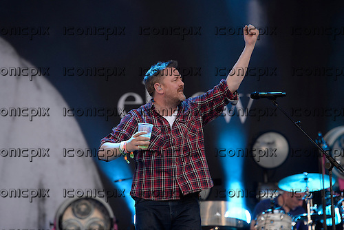 ELBOW - Vocalist Guy Garvey - performing live on the Pyramid Stage on Day 2 of the 2014 Glastonbury Festival at Pilton Farm Somerset UK - 27 Jun 2014.  Photo credit: George Chin/IconicPix