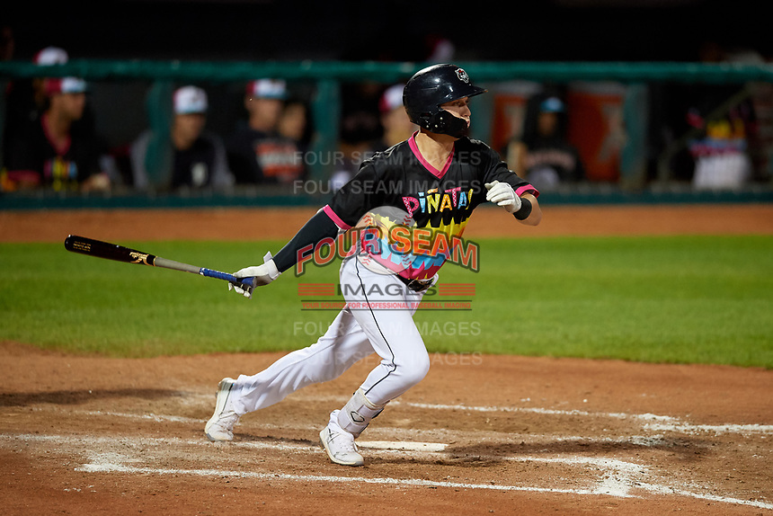 Erie Piñatas Kody Clemens (8) at bat during an Eastern League game against the Las Ardillas Voladoras de Richmond on August 28, 2019 at UPMC Park in Erie, Pennsylvania.  Richmond defeated Erie 4-3 in the second game of a doubleheader.  (Mike Janes/Four Seam Images)