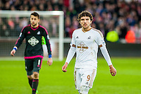 Alberto Paloschi of Swansea City  leaves the field during the Barclays Premier League match between Swansea City and Southampton  played at the Liberty Stadium, Swansea  on February 13th 2016