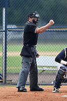 Umpire Jason Johnson makes a call during the second game of a doubleheader between the GCL Braves and GCL Yankees 1 on July 1, 2014 at the Yankees Minor League Complex in Tampa, Florida.  GCL Braves defeated the GCL Yankees 1 by a score of 3-1.  (Mike Janes/Four Seam Images)