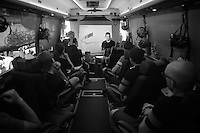 Team SKY stage breefing by DS Dario Cioni in the teambus prior to starting stage 19<br /> <br /> stage 19: Medina del Campo - Avila (186km)<br /> 2015 Vuelta &agrave; Espana