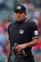 Umpire Nestor Ceja during game one of a double header between the San Antonio Missions and NW Arkansas Naturals on May 30, 2015 at Arvest Ballpark in Springdale, Arkansas.  San Antonio defeated NW Arkansas 5-1.  (Mike Janes/Four Seam Images)