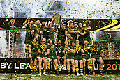 2nd December 2017, Brisbane, Australia;  Australia win the World Cup shown on podium after the Rugby League World Cup Mens Final match between Australia and England at Brisbane Stadium, Brisbane, Australia on 2 December 2017