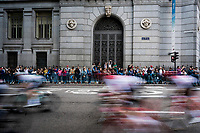 peloton speeding by in the Madrid local laps<br /> <br /> Stage 21: Fuenlabrada to Madrid (107km)<br /> La Vuelta 2019<br /> <br /> ©kramon