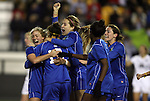02 December 2011: Duke's Kim DeCesare (19) celebrates her goal with teammates (from left), Kaitlyn Kerr, Katie Trees, Natasha Anasi, and Chelsea Canepa. The Duke University Blue Devils played the Wake Forest University Demon Deacons at KSU Soccer Stadium in Kennesaw, Georgia in an NCAA Division I Women's Soccer College Cup semifinal game.