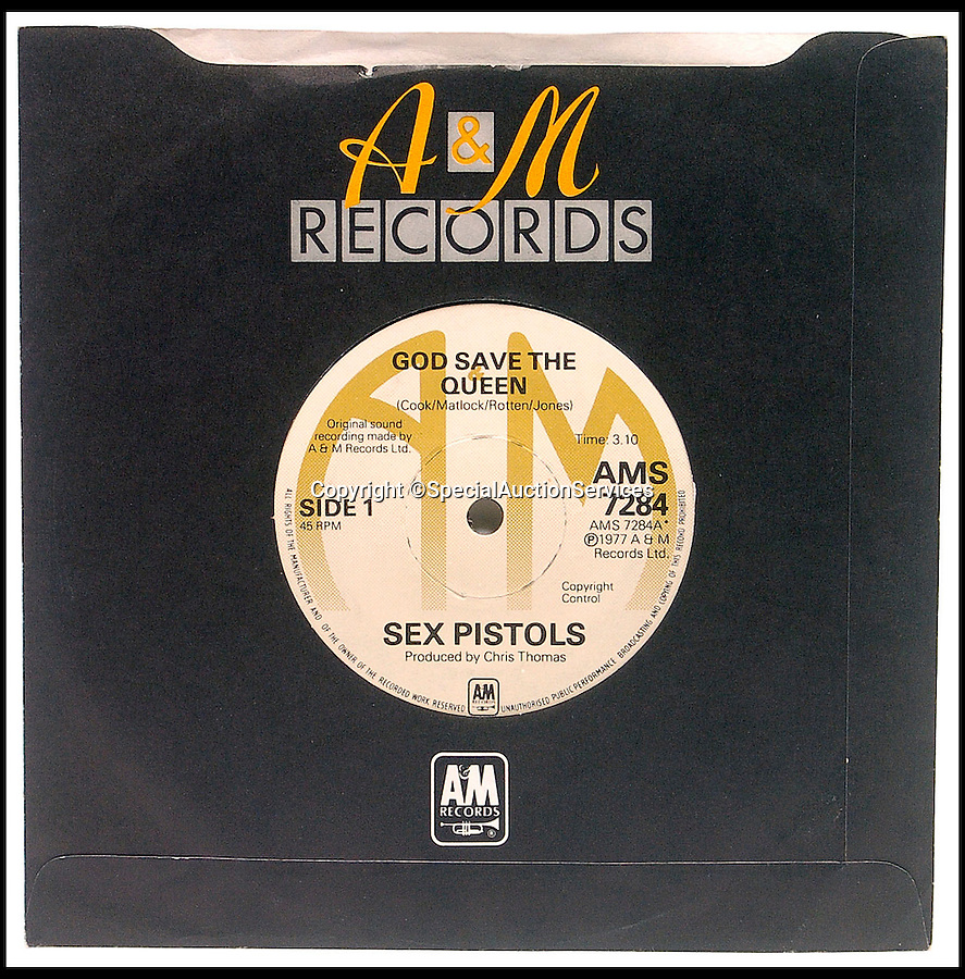 BNPS.co.uk (01202 558833)<br /> Pic: SpecialAuctionServices/BNPS<br /> <br /> ***Please Use Full Byline***<br /> <br /> Right Royal sum for Sex Pistols single.<br /> <br /> An incredibly rare and never-played copy of the controversial Sex Pistols' single God Save the Queen has sold for £6,000 at auction.<br /> <br /> The record, which is in near mint condition, is among the most valuable records ever pressed in Britain and is one of just a handful out of 25,000 that weren't destroyed by the band's former record company.