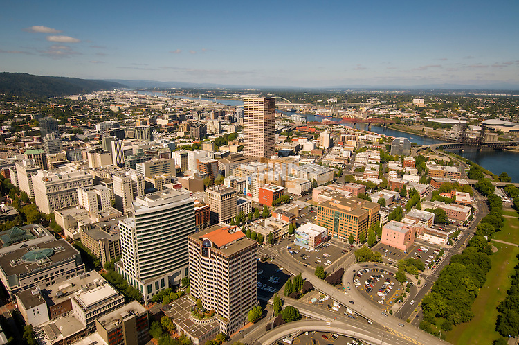 Aerial citysacpe of downtown Portland, OR.