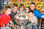 SAM FANS:Football fans  from Dromid welcome the Sam Maguire Cup on Thursday evening when the local community organised a festival to welcomed The Turas Ireland South West 2008 challenge to the region..L/r.Cian O'Shea, Shane O'Connor, Grace O'Connor, Roisin O'Shea, Niall O'Connor and Killian O'Shea.   Copyright Kerry's Eye 2008