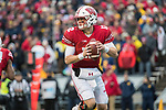 Wisconsin Badgers quarterback Alex Hornibrook (12) drops back to pass during an NCAA College Big Ten Conference football game against the Michigan Wolverines Saturday, November 18, 2017, in Madison, Wis. The Badgers won 24-10. (Photo by David Stluka)
