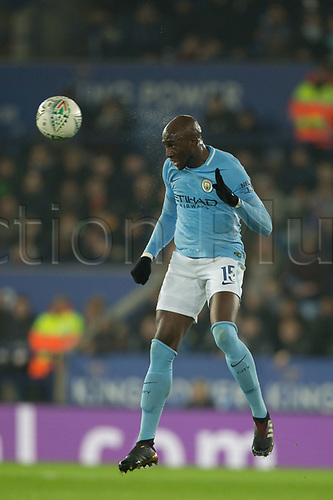 19th December 2017, King Power Stadium, Leicester, England; Carabao Cup quarter-final, Leicester City versus Manchester City; Eliaquim Mangala of Manchester City heads the ball clear of his box