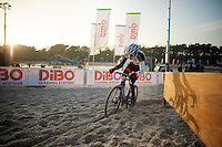 Mathieu Vanderpoel (NLD/BKCP-Powerplus) plowing through the sand during recon<br /> <br /> Zilvermeercross 2014