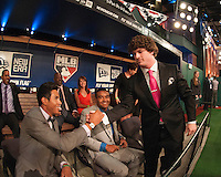 Pitcher Grant Holmes (Conway H.S. (SC)) the number 22 overall pick to the Los Angeles Dodgers with infielder Jacob Gatewood (Clovis H.S. (CA)) the number 41 overall pick to the Milwaukee Brewers and outfielder Derek Hill (Elk Gove H.S. (CA)) the number 23 overall pick to the Detroit Tigers during the MLB Draft on Thursday June 05,2014 at Studio 42 in Secaucus, NJ.   (Tomasso DeRosa/ Four Seam Images)