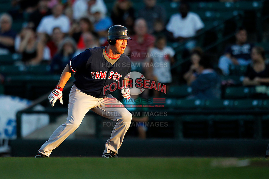 Boston Red Sox outfielder J.D. Drew #23 leads off first base during the first inning of a rehab assignment game with the Pawtucket Red Sox against the Rochester Red Wings at Frontier Field on August 30, 2011 in Rochester, New York.  (Mike Janes/Four Seam Images)