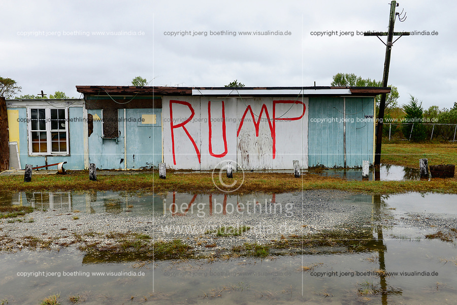 USA, Virginia, Trump without T, name of Donald Trump at rotten house