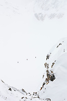 Mountaineering on back country skis on the ruth glacier, Alaska Range mountains, Alaska.