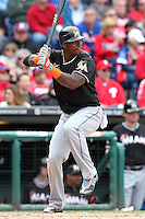 Miami Marlins third baseman Hanley Ramirez #2 during a game against the Philadelphia Phillies at Citizens Bank Park on April 9, 2012 in Philadelphia, Pennsylvania.  Miami defeated Philadelphia 6-2.  (Mike Janes/Four Seam Images)